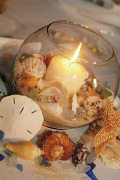 centrotavola conchiglie e candela