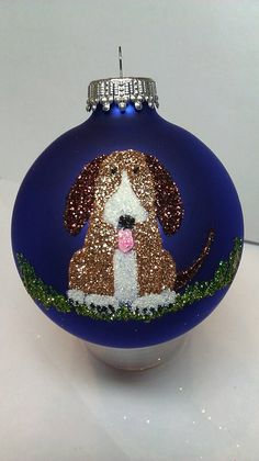 Personalized Cute Puppy Dog Ornament  Blue or by GlitterOrnaments, $15.00