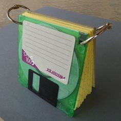 Bright Green Floppy Disk Note Pad Recycled Upcycled by CuttingItUp, $8.00