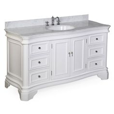 """Kitchen Bath Collection KBC-A601WTCARR Katherine Single Sink Bathroom Vanity with Marble Countertop, Cabinet with Soft Close Function and Undermount Ceramic Sink, Carrara/White, 60"""" - - Amazon.com"""