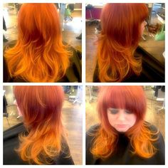 Vibrant rich red into a bright copper orange. Dramatic yet versatile bang to complement the drama and intensity of her hair color!