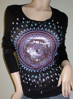 Womens Wrangler Rock 47 Black Long Sleeve Medallion Print T Shirt Large New  BEAUTIFUL