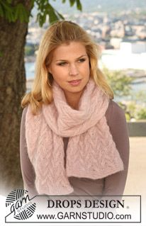 "Knitted DROPS shawl with cables in 2 strands ""Kid-Silk"". ~ DROPS Design"