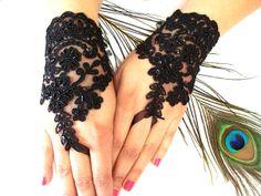 Wedding Gloves Black Lace gloves Fingerless by MyWeddingDream, $37.00