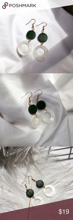 🆕 Vintage look green white circles Brand new.  Feminine look with a chic vintage touch. I love it wearing it with my vintage looking shirts, any T-shirt and French style dresses. Must have for this season Jewelry Earrings