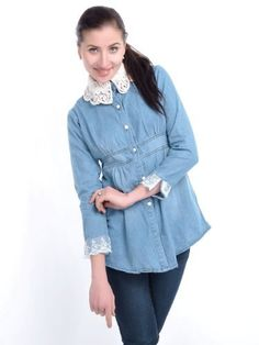 Anna-Kaci S/M Fit Blue Crochet Collar and Lace Overlay Cuffs Button Front Blouse Anna-Kaci. $27.90