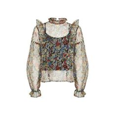 Topshop Floral Mesh Frill Blouse (395 SEK) ❤ liked on Polyvore featuring tops, blouses, multi, white cami, mesh blouse, camisole tops, white cami top and floral print blouse