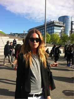 Shades: check. Artfully dishevelled hair: check. Slouchy tee: check. It's official Erin Wasson is the coolest person in the world. #PFW