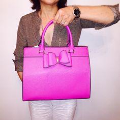 Pink bow handbag Vegan leather magenta pink handbag 11 x 13 x 5 nwt Bags Satchels