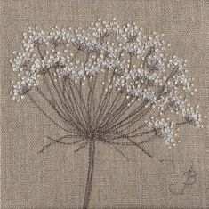 Cow Parsley on Linen, machine and hand embroidery by Jo Butcher Embroidery Applique, Beaded Embroidery, Cross Stitch Embroidery, Embroidery Patterns, Free Motion Embroidery, Free Machine Embroidery, Bordados E Cia, Graphic 45, Fabric Art