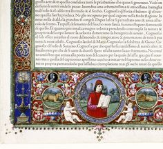 Title text:  Natural History (also known as 'Douce Pliny').  Country or origin:  Italian  Place of origin:  Florentine Venice  Date:  1476  Image description:  Frontispiece to translator's preface. 'Prohemio', dedication to King Ferdinand II of Naples. Lower border with medallion with portrait of Cristoforo Landino, the translator, holding an open book; background of trees and the Duomo of Florence. Flanked by smaller medallions containing a lion and a lioness.