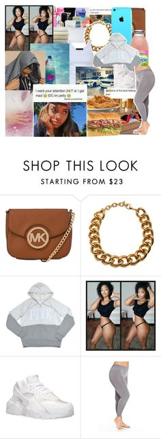 """Slim thick whicho cute ass "" by w-oes ❤ liked on Polyvore featuring MICHAEL Michael Kors, *Accessories Boutique, Victoria's Secret PINK, Tusnelda Bloch and NIKE"
