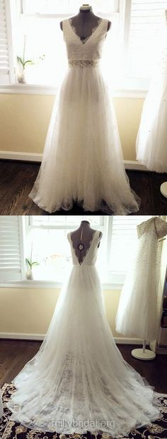 Graceful Beach Wedding Dresses Ivory, Tulle Lace Bridal Dresses Backless, V-neck Wedding Dress Sexy