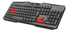 Games, PC, Zubehör, Gaming-Tastaturen Trust, Layout, Computer Keyboard, Games, Keyboard, German Language, Sons, Red, Black People