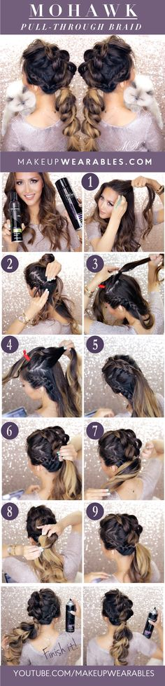 MOHAWK PULL THROUGH BRAID Hairstyle - MakeupWearables Hair Tutorial