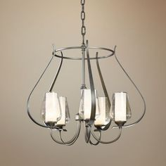 Hubbardton Forge Flora Seeded Glass 22 1/4-Inch-W Chandelier