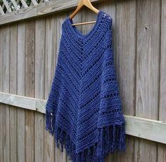Boho Poncho Crochet Poncho Wrap in Denim Blue by CandacesCloset