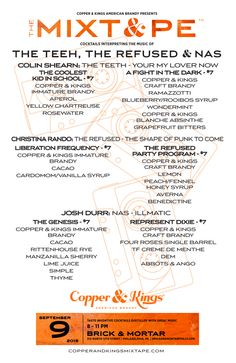 Copper & Kings MIXT&PE Menu at Brick & Mortar, Philadelphia on Sept. 9, 2015. Cocktails interpreting the music of The Teeth & NAS #brandy #brandyrocks #mixtape #copperandkings #americanbrandy #craftbrandy #brickandmortar #philadelphia #pennsylvania #theteeth #therefused #nas #yourmylovernow #thecoolestkidinschool #afightinthedark #theshapeofpunktocome #liberationfrequency #therefusedpartyprogram #illmatic #thegenesis #representdixie #cocktail #cocktails #brandycocktail #drink #music