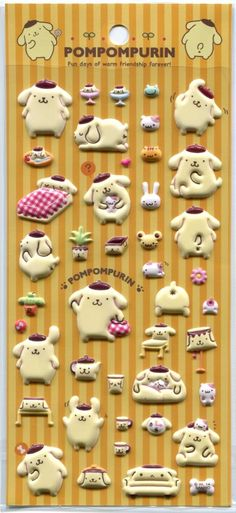 Image 0 of Sanrio Pom Pom Purin Fun Days Sponge Sticker Sheet #1 (I1540)
