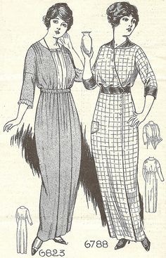Housedresses, 1914 Patterns for the maternity dress (on the left) and the adjustable housedress (on the right) could be purchased from Needlecraft magazine for ten cents. The adjustable dress was advertised as a time and work-saver; if you dribbled something down your front, you could rebutton the dress to hide the stain.