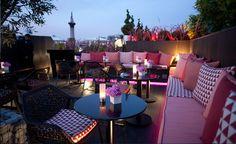 outdoors pink sofa