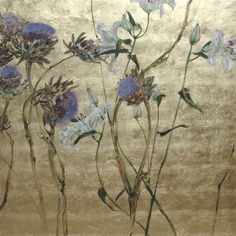 Painting over leaf, work of French artist Claire Basler.
