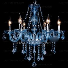 Blue chandelier is composed of crystal fixture, E12/E14 screw base and hardware ceiling plate. Dimensions of fixture could be 22*23.6 inch. Blue crystal is made according to K9 standard, good quality and solid. E14 pointed bulbs are well recommended.