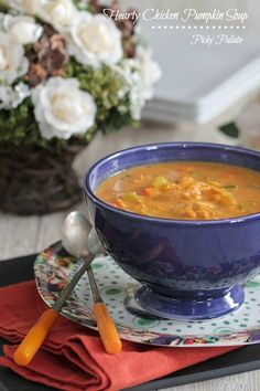 Hearty Chicken Pumpkin Soup...easy, hearty and ready in under 30 minutes!  {Picky Palate}