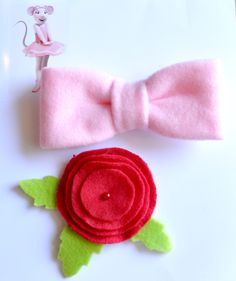 accessories set inspired angelina ballerina costume pink bow red rose girls babies toddler kids children child halloween costumes.. $29.00, via Etsy.