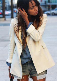 White blazer + Denim cutoffs