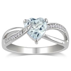 Heart-cut aquamarine and round white diamond heart ringSterling silver jewelryClick here for ring sizing guide