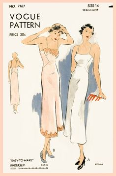1930s 30s vintage lingerie sewing pattern lace slip dress negligee bust 32 b32 repro reproduction