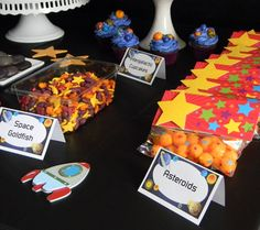 outer space goldfish crackers  AND CHEESE BALL ASTROIDS..don't like the goldfish..but the cheese balls--yes!
