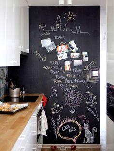New Kitchen Wall Decored Diy Apartments 28 Ideas Kitchen Blackboard, Blackboard Paint, Chalk Wall, Magnetic Chalkboard, Chalk Board, Chalkboard Ideas, New Kitchen, Kitchen Decor, Chalkboard Art