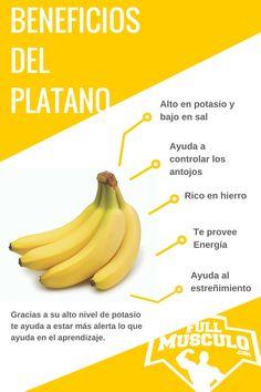 Infografia de los Beneficios y propiedades del platano o también conocido como banana. Es alto en potasio y bajo en sal, ayuda a controlar los antojos, es rico en hierro, te provee de energía y ayuda al estreñimiento