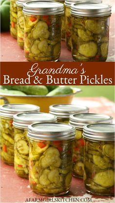 Bread and Butter Pickles are easy to make and have a wonderful sweet and tangy flavor. You'll love Grandma's Bread and Butter Pickle recipe! (EASY to make! Relish Recipes, Cucumber Recipes, Canning Recipes, Canning 101, Canning Jars, Recipe For Cucumber Pickles, Easy Pickle Recipe, Easy Canning, Kitchen Recipes