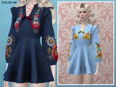 Dress with Embroidery for The Sims 4