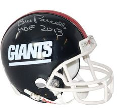 Bill Parcells Authentic Hand Signed Giants Mini Helmet...  Bill Parcells Steiner Authenticated Autographed Mini Helmet-Coach Bill Parcells has personally hand-signed this Giants replica mini helmet and inscribed it HOF (Hall of Fame) 2013. Parcells was a 2x Coach of the Year 1988 1994 and 2x Super Bowl Champion winning coach with the NY Giants SB XXI XXV.  #picsandpalettes #football #Amazon