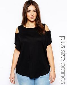 New Look Inspire Black Cold Shoulder Tee at asos.com  (Cute Plus Size Clothes!)