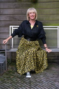 Yellow and black pleated skirt with black shirt Grey Trousers, Harem Pants, Black Pleated Skirt, Winter Shirts, Yellow Top, Black Linen, Batwing Sleeve, Skirt Suit, My Wardrobe