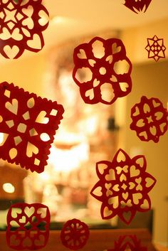 red paper snowflakes