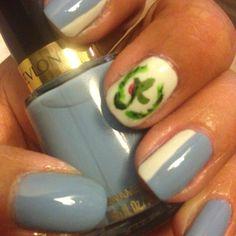 Olympic Love - Team Guatemala Nails (Revlon - Dreamer and Piggy Polish - white)