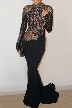 Lace Spliced Open Back Black Fishtail Dress