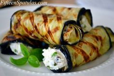 Grilled Eggplant Rolls with Ricotta and Basil