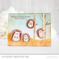 Happy Hedgehogs Stamp Set and Die-namics, Grassy Hills Die-namics, Birch Trees Die-namics - Keeway Tsao  #mftstamps
