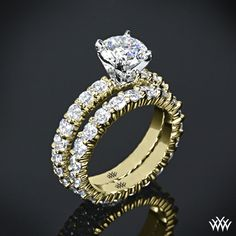 """Yellow Gold with Platinum Head """"Diamonds for an Eternity"""" Diamond Engagement Ring & Wedding Ring"""