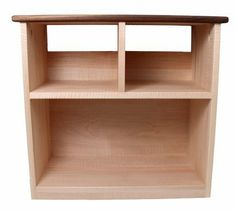 """Camden Rose A Simple Bookcase, Curly Maple w/Walnut Accents, Two Shelves by Camden Rose. $164.99. Simple, contemporary design complements any decor - solid curly maple hardwoodwood with walnut accent strips on top. SHIPPING rate for Continental USA only; additional shipping required for AK, HI and Canada.. Approximately 22.5"""" H, 11.5"""" D, 24""""W - Top shelf height 8"""", Bottom shelf height 11"""". Made by Camden Rose in the USA.. Smaller, divided top shelf allows for storag..."""