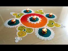 Super easy colourful rangoli for beginners | unique and creative rangoli design by Jyoshita Ghate| - YouTube Rangoli Designs Simple Diwali, Indian Rangoli Designs, Rangoli Designs Latest, Rangoli Designs Flower, Free Hand Rangoli Design, Small Rangoli Design, Rangoli Border Designs, Rangoli Ideas, Colorful Rangoli Designs