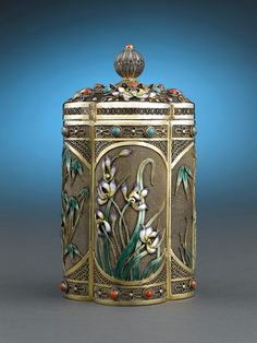Chinese Silver-Gilt Jar with Enamel Bamboo and Irises ~ M.S. Rau Antiques