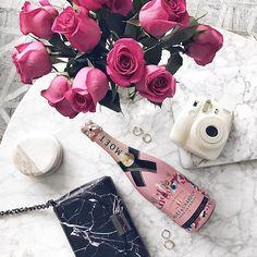 date night, flowers, champagne, bag, camera Pinterest @MANARELSAYED